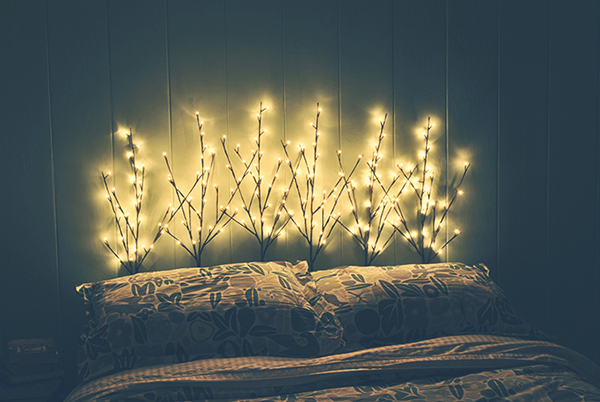 A headboard that incorporates lights