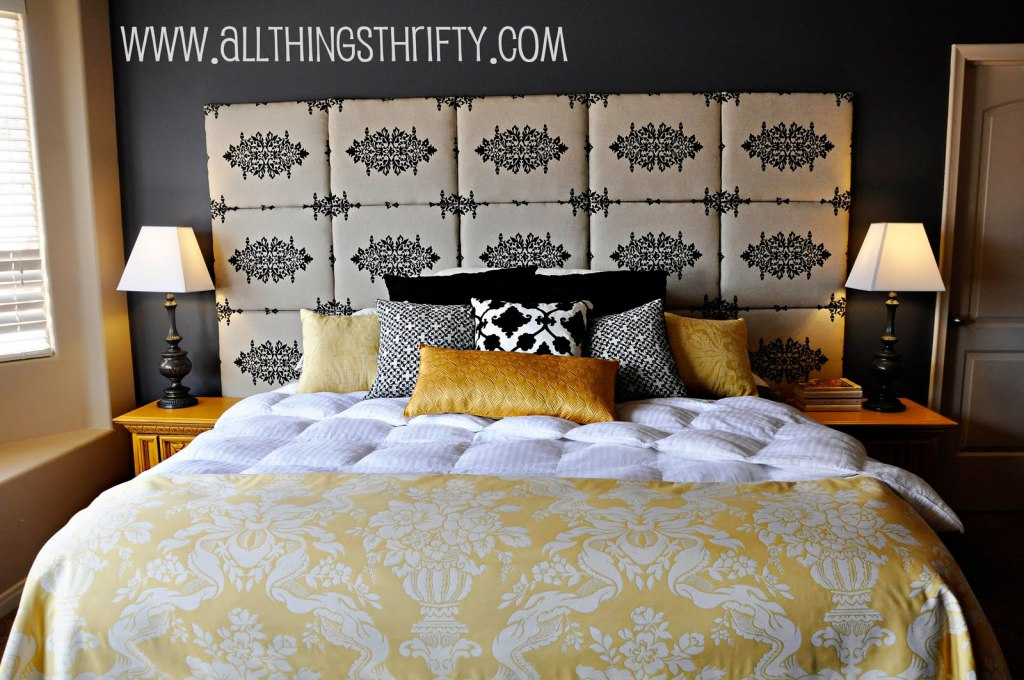 A large fabric headboard