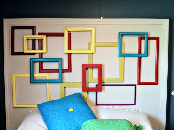 Headboard made out of picture frames