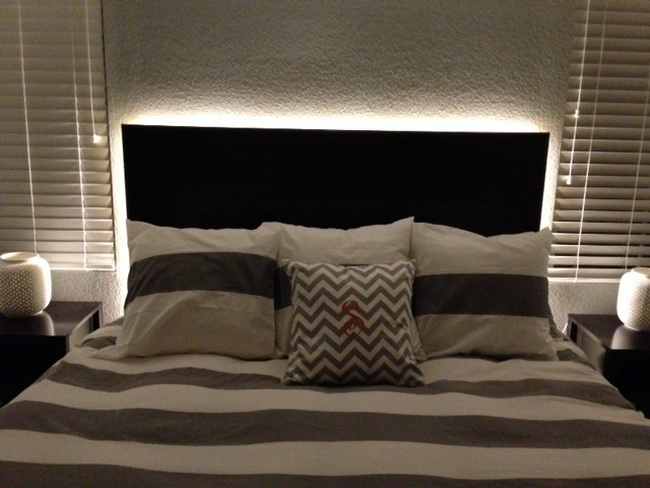 LED lit Floating headboard
