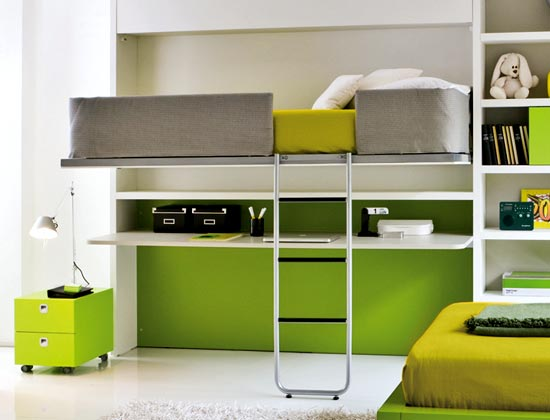 Lofted bed for small bedroom decoration