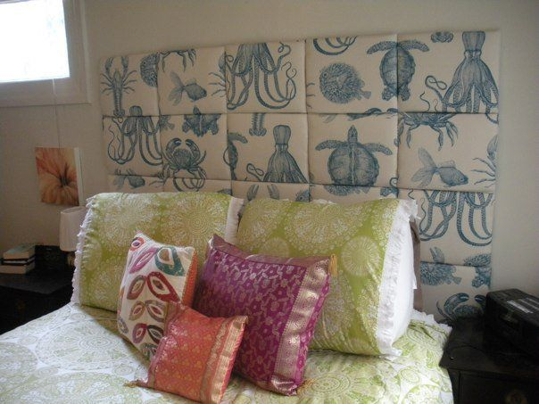 Upholstered headboard made of squares