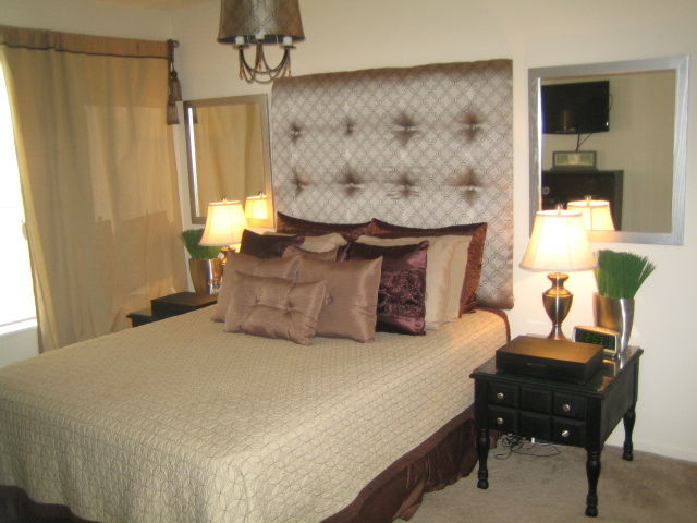 Upholstered high-back headboard