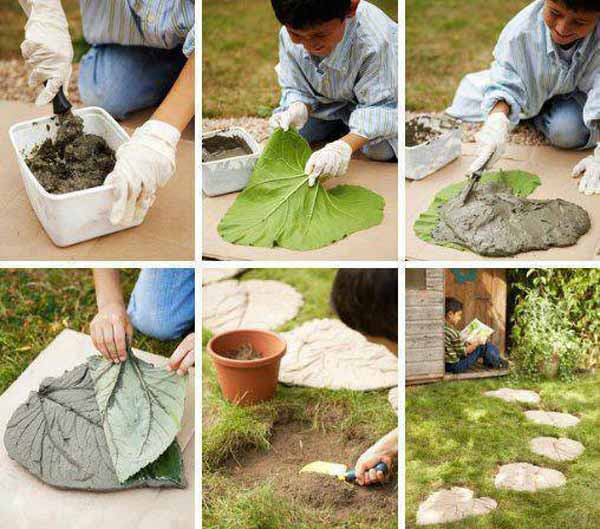 Leave Shape Concrete as a Stepping Stone