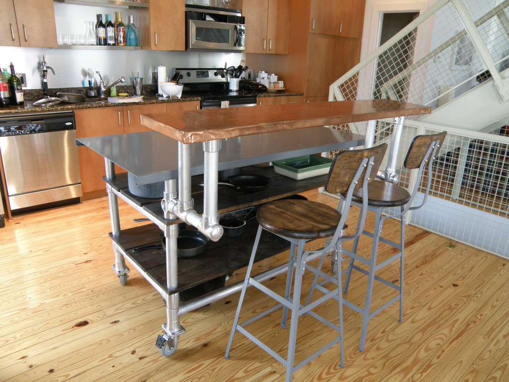 copper industrical metal kitchen island idea