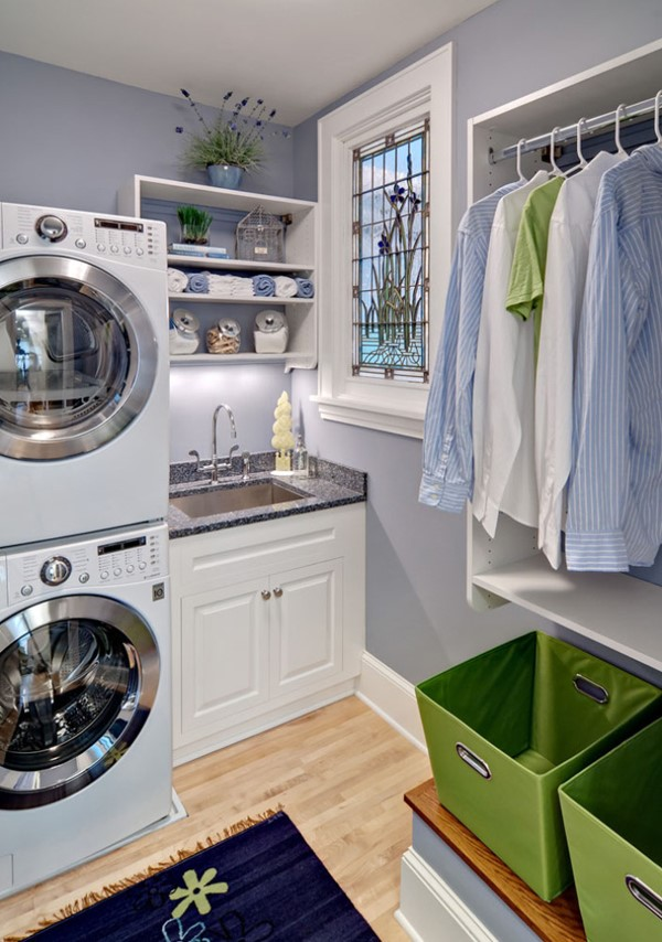 10 clever small laundry room storage and organization - Laundry room color ideas ...