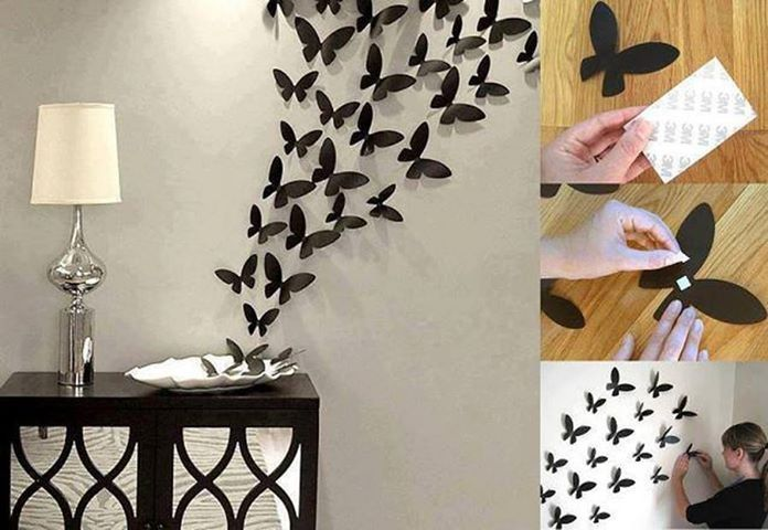 20 fascinating wall art ideas to decor your home home for Butterflies for crafts and decoration