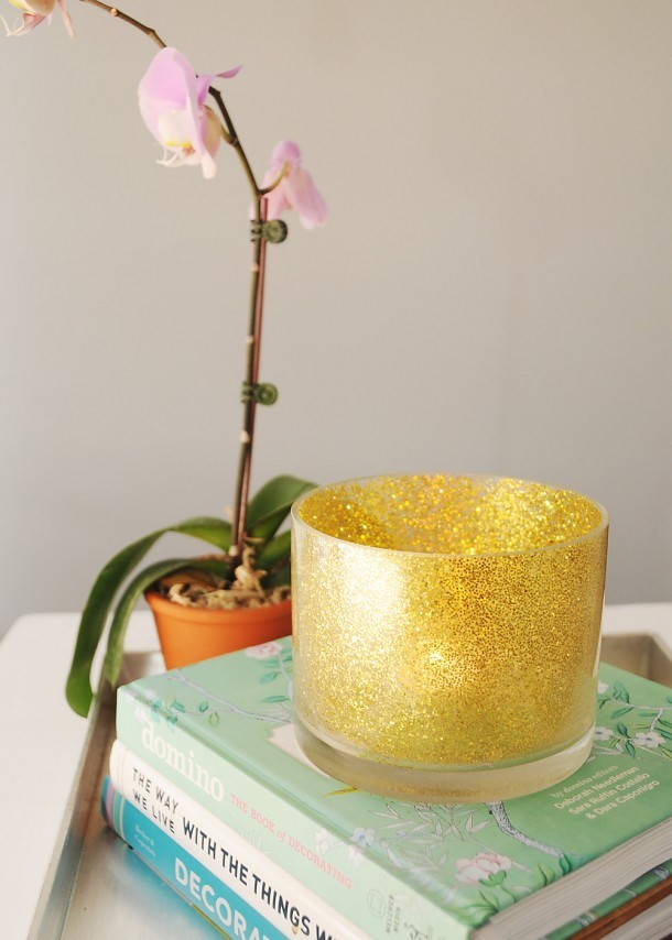 Glittering Glass Candle Holder