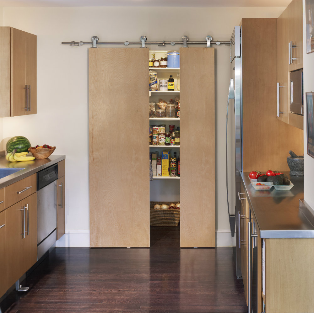 10 efficient ideas to remodel a small kitchen home and for Sliding pantry doors