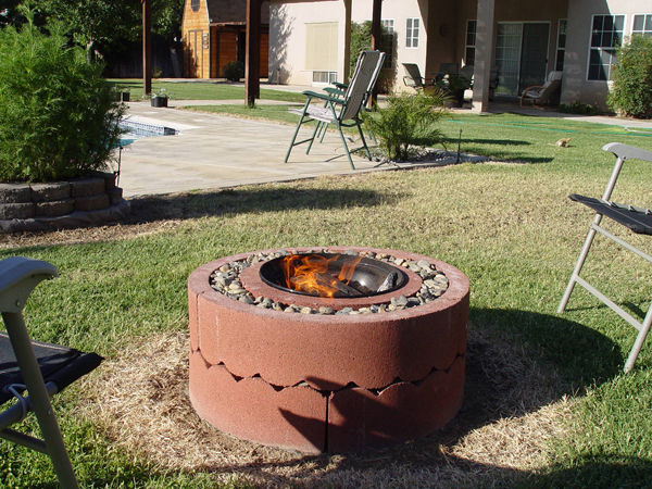 DIY Fire Pit Idea Using Concrete Tree Rings