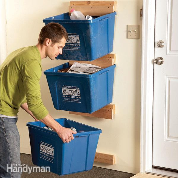 Recycling bin storage system
