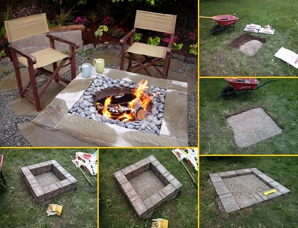 Pictures Of Square Fire Pits In A Backyard : 20 Stunning DIY Fire Pits You Can Build Easily ? Home and Gardening