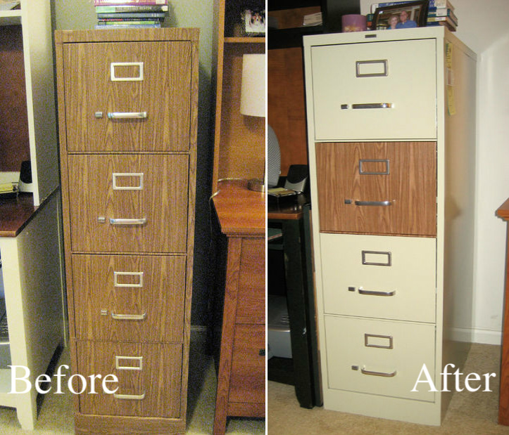 File Cabinet Makeover with Contact Paper