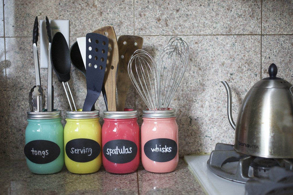 Colorful Mason Jar Organizer For Kitchen
