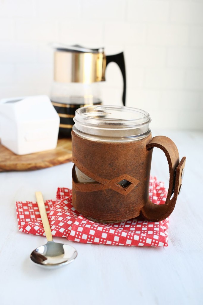 Leather Cover Holder For Mason Jar