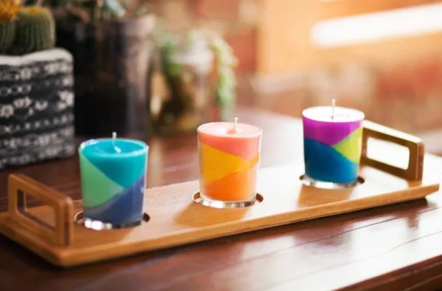 color blocking candle