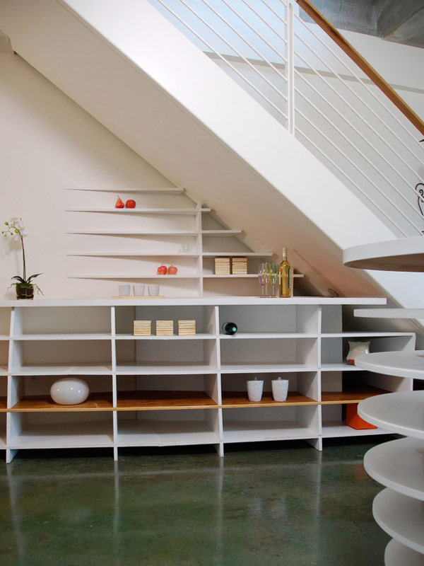 Stylish and Chic Shelves Beneath the Stair