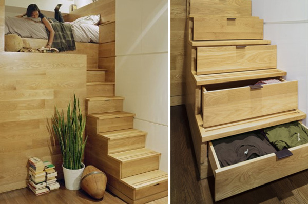 Wooden Stair With Built In Storage Space