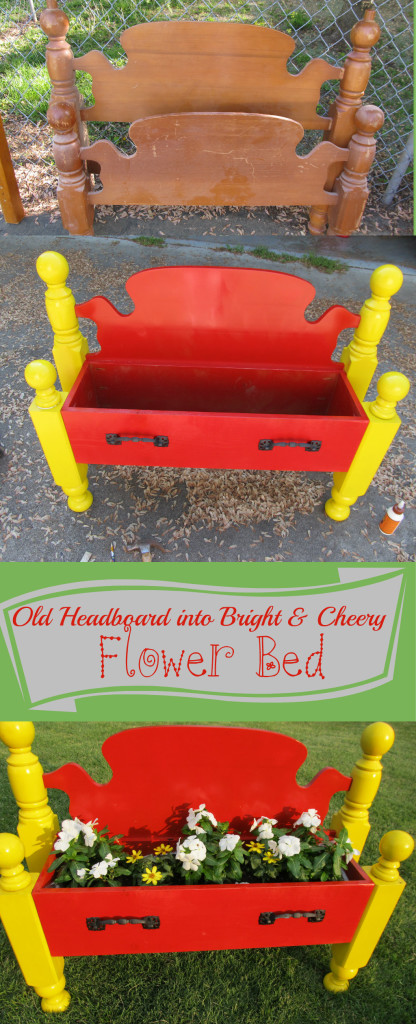Recycled Headboard Turned Into Flower Bed