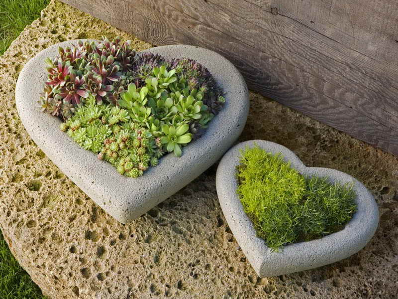 Stone Heart Planters