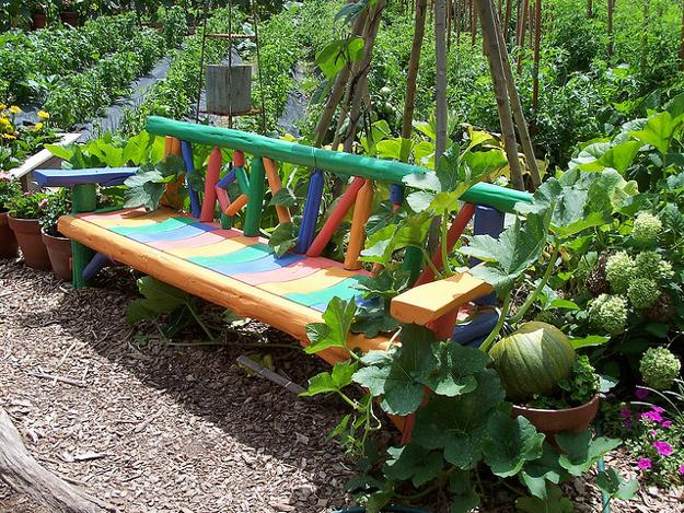 Whimsical Painted Bench