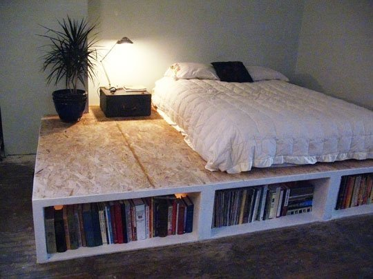Unique DIY Platform Bed With Storage