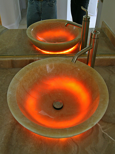 lighted sink bowl