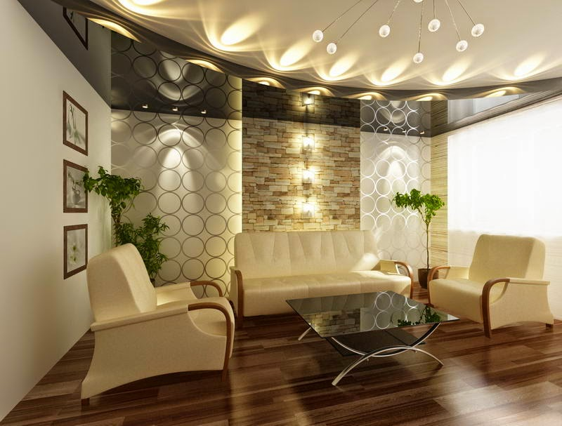 25 elegant ceiling designs for living room home and for Latest decoration of living room