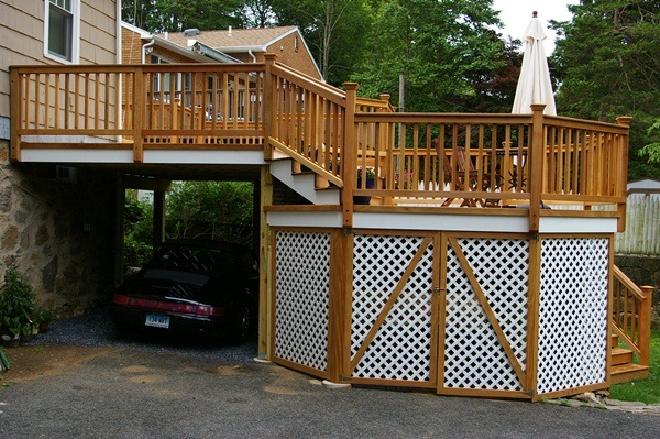 Decks Design Ideas small Garage Deck
