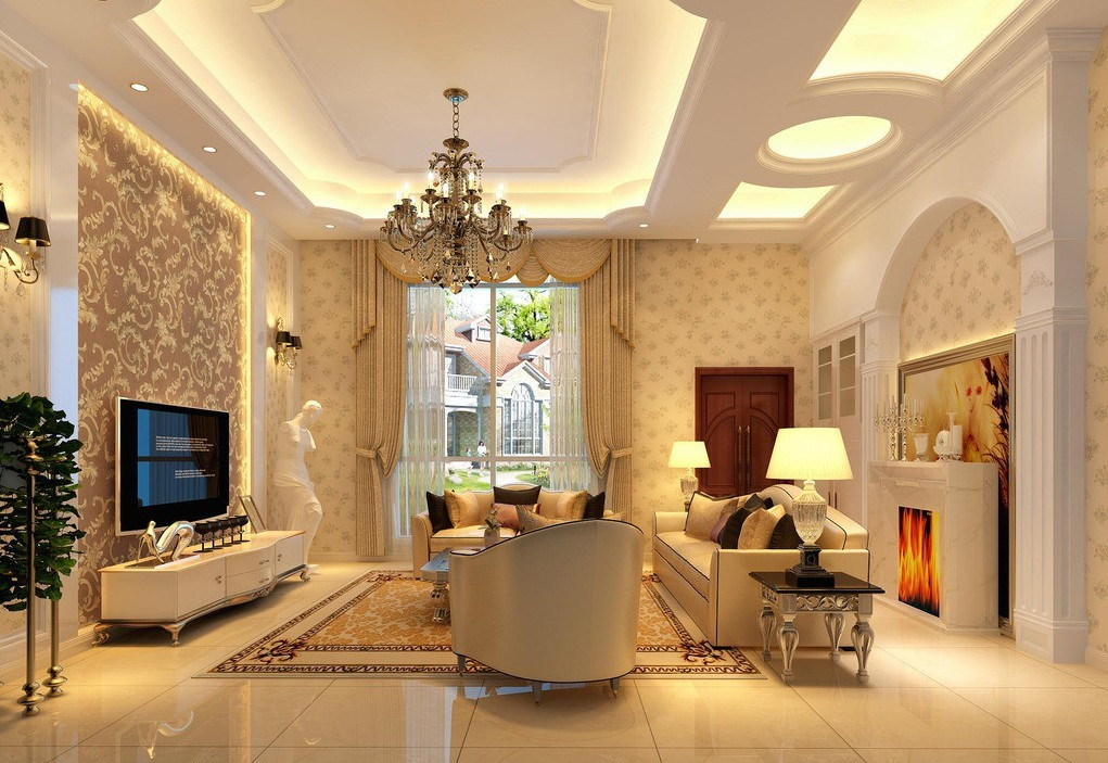 25 elegant ceiling designs for living room home and for Home wallpaper designs for living room