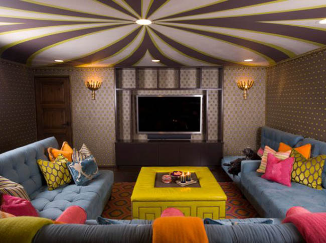 Delightful Patterned Ceiling For Living Room Part 24
