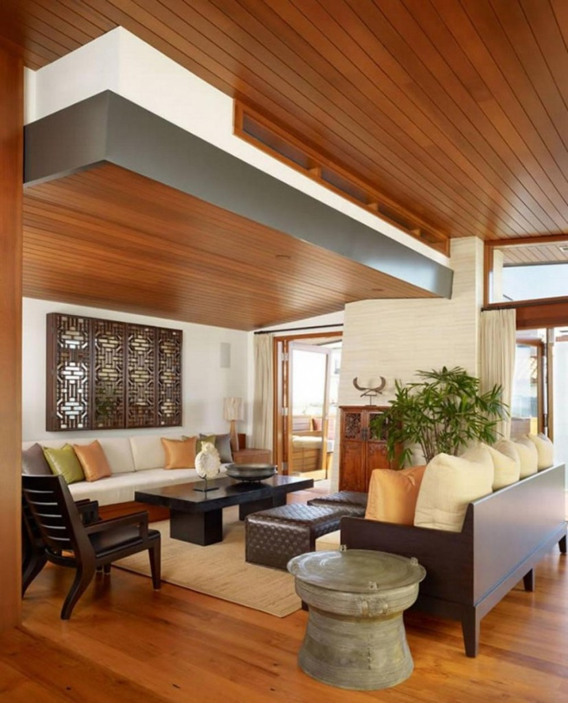living rooms thin wooden drop ceiling - Living Room Ceiling Design Ideas