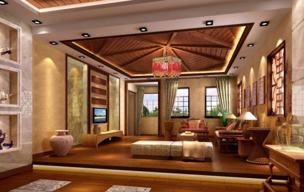 25 elegant ceiling designs for living room home and for Interior design styles living room 2015