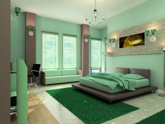 mint green master bedroom