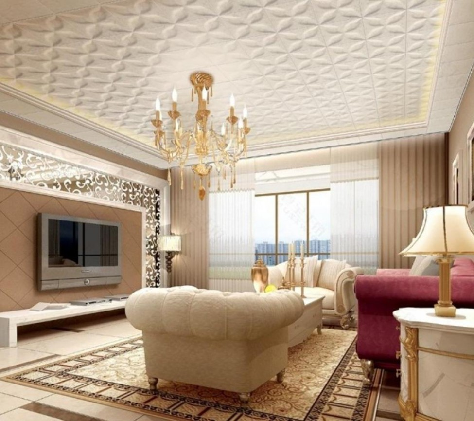 patterned ceiling design - 25 Elegant Ceiling Designs For Living Room – Home And Gardening Ideas