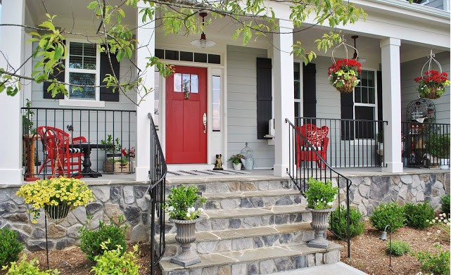 Pop Of Red Front Porch
