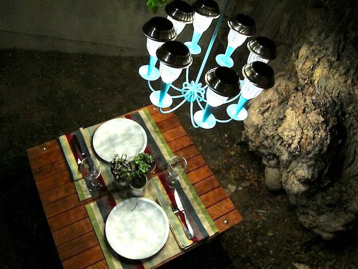 solar garden chandelier