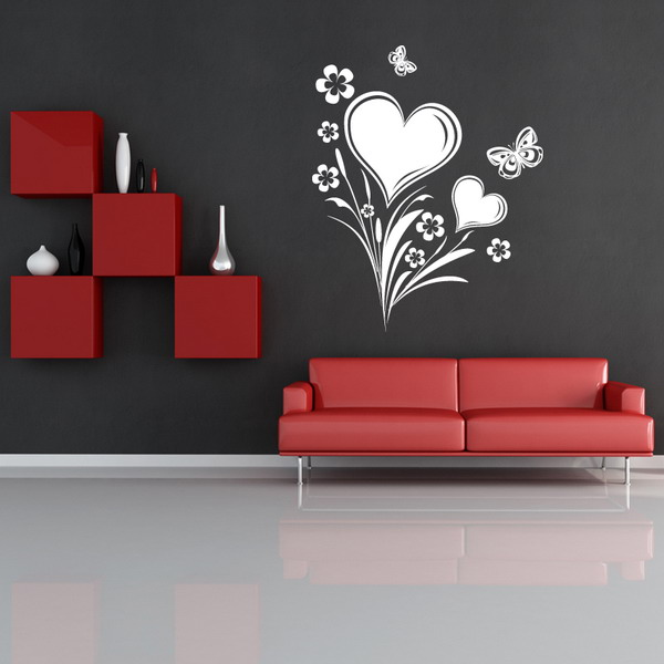 hearts and flowers - Wall Painting Living Room