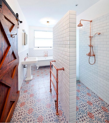 colorful flooring tiles in the bathroom