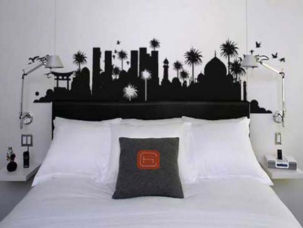 painted skyline in the bedroom