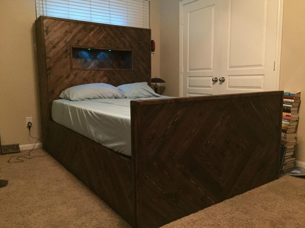 Lighted Herringbone Bed Frame