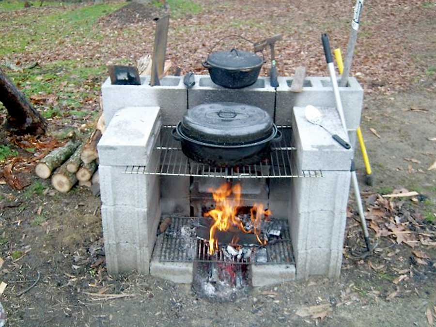 Portable Cement Block Fireplace