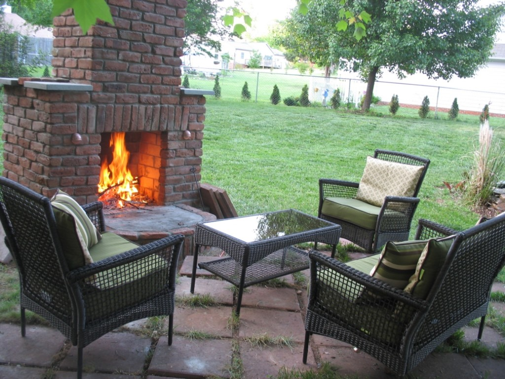 12 Outdoor Fireplace Plans To Enjoy The Backyard At Night ... on Brick Outdoor Fireplace Ideas id=83946