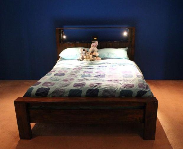 bed frame has lights