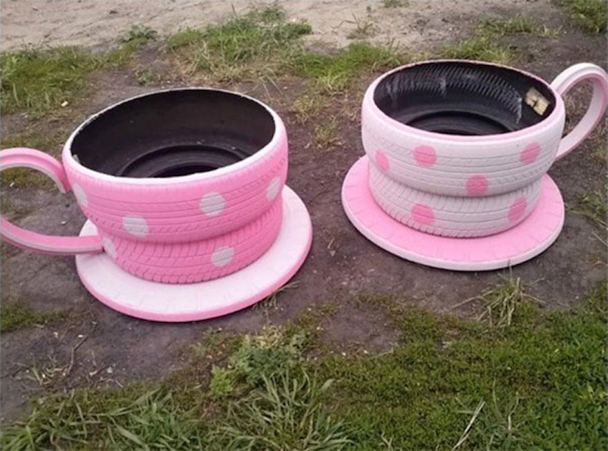Tire tea cup planters