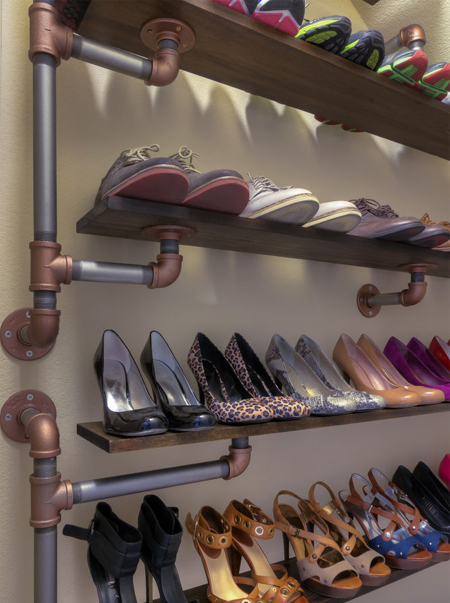 industrial-looking shoe storage