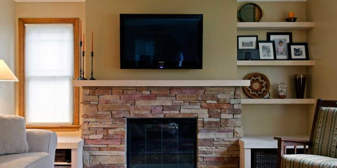 floor to ceiling brick update remodel makeover stone with fireplace