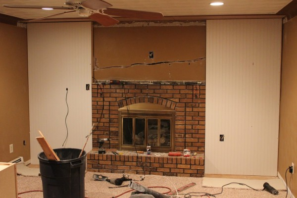 brick fireplace remodel idea