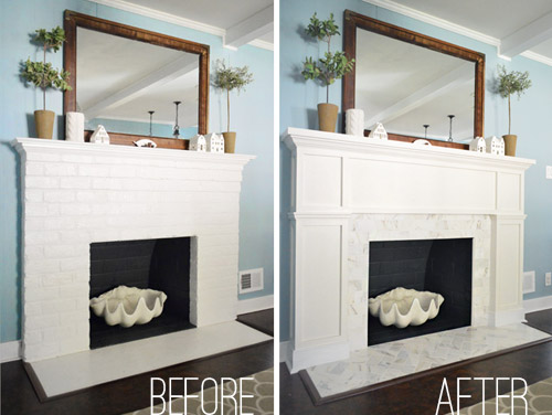 marble and tile fireplace update