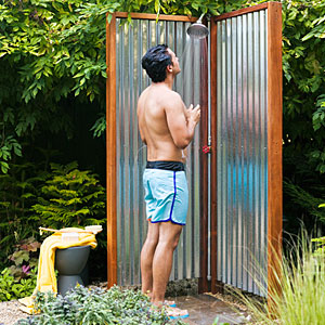 Corrugated Shower Stall
